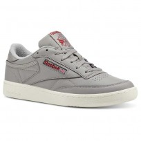 Reebok Club C 85 Shoes Mens Grey/Red CN5374