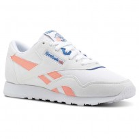 Reebok Classic Nylon Shoes Womens White/Pink/Blue CN2966