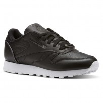 Reebok Classic Leather Shoes Womens Black/Silver Metallic/White BS9879