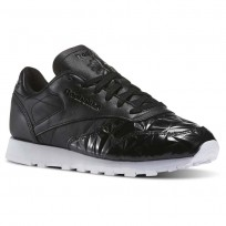 Reebok Classic Leather Shoes Womens Black/White BD4887