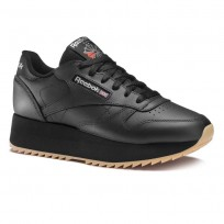 Reebok Classic Leather Shoes Womens Black/Silver DV6473