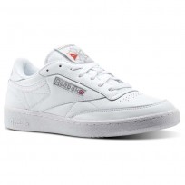 Reebok Club C 85 Shoes Mens White/Dark Grey/Red CN0648