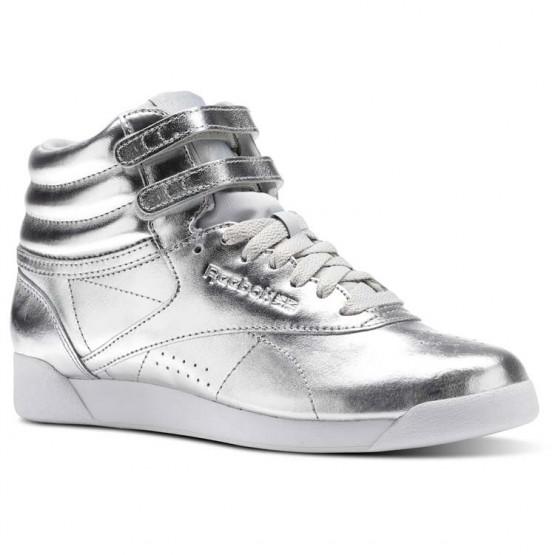 Reebok Freestyle Hi Schuhe Damen Silber Metal/Grau/Weiß BS9944