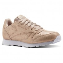 Reebok Classic Leather Shoes Girls Rose Gold/Beige/White CN5586
