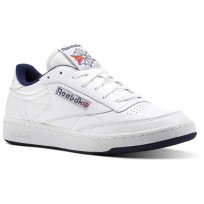 Reebok Club C 85 Shoes Mens White/Navy/Red CN0646