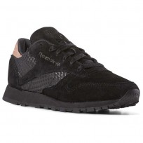 Reebok Classic Leather Shoes Womens Black/Rose Gold CN3738