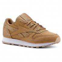 Reebok Classic Leather Shoes Womens Brown/Beige/White CN2962