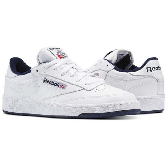 Reebok Club C 85 Shoes Mens White/Navy AR0457