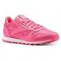 Reebok Classic Leather Shoes Girls Pink/White CN5690