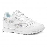 Reebok Classic Leather Shoes Girls White/Blue DV3614
