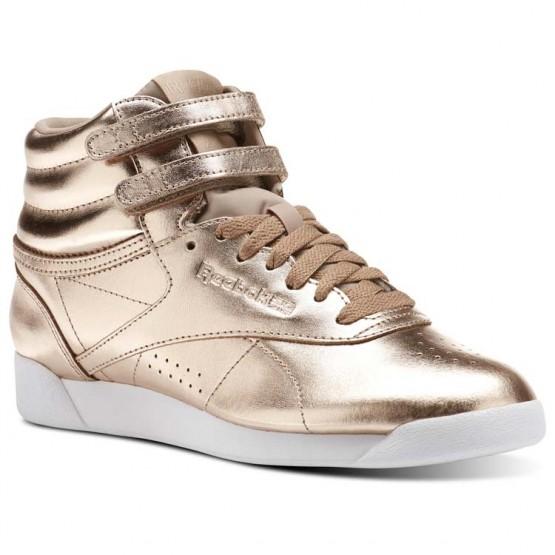 Reebok Freestyle Hi Schuhe Damen Rosa Gold/Weiß/Silber CN0573