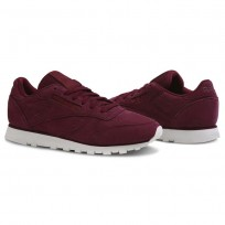 Reebok Classic Leather Shoes Womens Deep Red CN5484