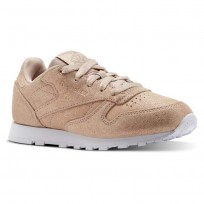 Reebok Classic Leather Shoes Girls Rose Gold/Beige/White CN5589