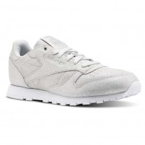 Reebok Classic Leather Shoes Girls Silver/Grey/White CN5581