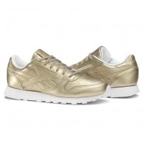Reebok Classic Leather Shoes Womens Gold/Grey Gold/White BS7898