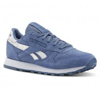 Reebok Classic Leather Shoes Womens Blue Stripes CN4385