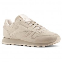 Reebok Classic Leather Shoes Womens Beige/Grey/Pink BS9883