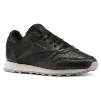 Reebok Classic Leather Shoes Womens Black/Lavender/Dark Silver CN5551
