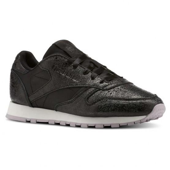 Zapatillas Reebok Classic Leather Mujer Negras/Lavanda/Plateadas Oscuro CN5551