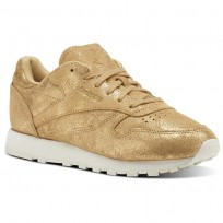 Reebok Classic Leather Shoes Womens Gold CN0574
