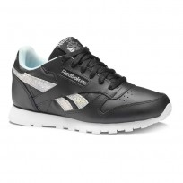 Reebok Classic Leather Shoes Girls Black/Blue/Grey DV3615