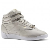 Reebok Freestyle Hi Schuhe Damen Beige/Grau/Weiß CN1496