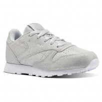 Reebok Classic Leather Shoes Girls Silver/Grey/White CN5582